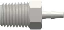 "1/16-27 NPT Thread with 5/16"" Hex to Classic Series Barb 1/16"" (1.6 mm) ID Tubing White Nylon"