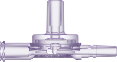 Double Check Valve Female Luer Chimney Port 2-5 PSI Cracking Pressure Radiation-Stable Polycarbonate