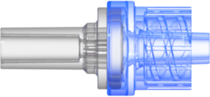 "Check Valve Pocket for .122"" (3.1 mm) OD Tubing to Male Locking Luer Cracking Pressure 2.9 +/- 0.725 psig Flow Rate >= 150 ml/min Back Pressure 304.5 psi Clear-Transparent  MABS and Blue-Transparent SAN w/Silicone Diaphragm"