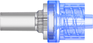 "Check Valve Pocket for .161"" (4.0 mm) OD Tubing to Male Locking Luer Cracking Pressure 2.176 ??"" 3.626 psi flow rate max 170 ml/min Blue SAN and Clear MABS with Silicone Diaphragm"