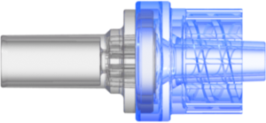 "Check Valve Pocket for .165"" (4.2 mm) OD Tubing to Male Locking Luer Cracking Pressure 2.9 +/- 0.725 psig Flow Rate >=150 ml/min Back pressure 304.5 psi SAN Blue-transparent and  MABS-Transparent w/Silicone Diaphragm"